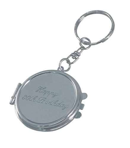 Luxury Engraved Gifts UK Men's Happy 80Th Birthday Compact Mirror Keyring One Size - Compact Mirror Keychain