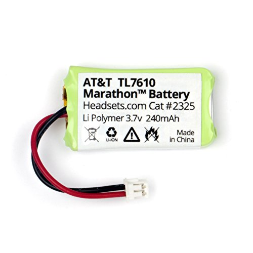 Replacement Battery for AT&T/V-Tech TL7600, TL7610, TL7612 and Marathon DECT 6.0 Wireless Office Headsets