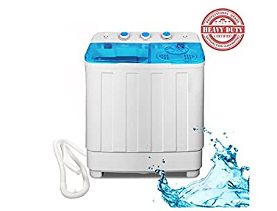 Bismi Portable Compact Washer and Spin Dry Cycle with Built in Pump (10-12lbs Capacity & Spin Dryer)