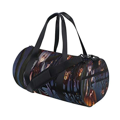 OuLian Gym Bag Hot Halloween Anime Wallpaper Womens Yoga Canvas Duffel Bag Cute Sports Bag for Mens