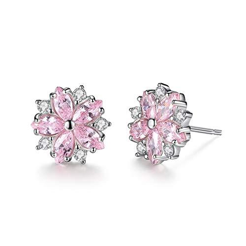 Lam Sence Sterling Silver Sakura Flower Jewelry for Women Girls (Stud Earrings)