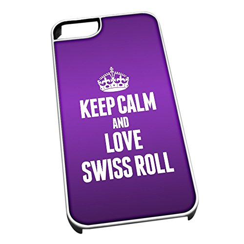 Bianco cover per iPhone 5/5S 1579 viola Keep Calm and Love Swiss roll