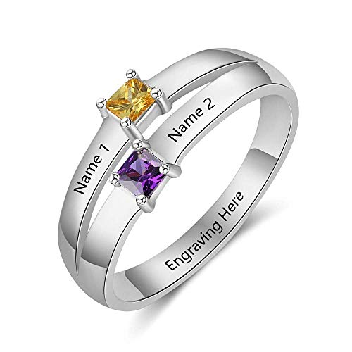 Personalized Engagement Rings for Women Promise Rings for Her Mothers Ring with 2 Simulated Birthstones Custom 2 Name Mothers Day Rings ()