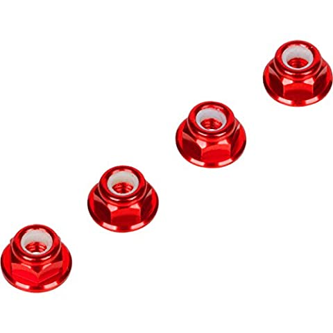 Red 4MM Wheel Nuts (Set of 4) for Traxxas Axial Racing HPI Racing TLR and ECX Vehicles - Bellcrank Shaft