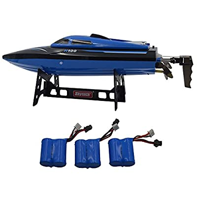 Blomiky H100 2.4GHz 4CH Automatic capsize High Speed Racing Boat Waterproof RC Boat Electric Boats Extra 2 Battery H100 Boat Blue