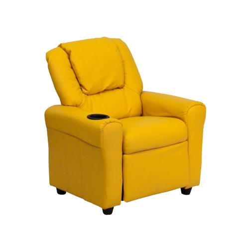 Offex OF-DG-ULT-KID-YEL-GG Contemporary Yellow Vinyl Kids Recliner with Cup Holder and Headrest
