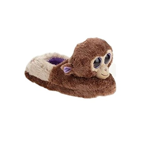 Beanie Boo Girls Slippers Faux Fur Monkey Size M 12-13
