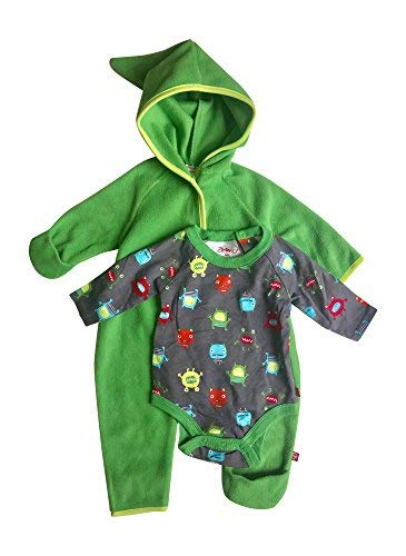 Baby Boy Hooded Fleece Bodysuit Elf Romper with Fold Over Cuffs & Long Sleeve Snap Onesie Set (Apple, 12 Months)