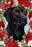 "Cheap Black Labrador Retriever by Tamara Burnett Valentine Roses Garden Dog Breed Flag 28"" x 40"""