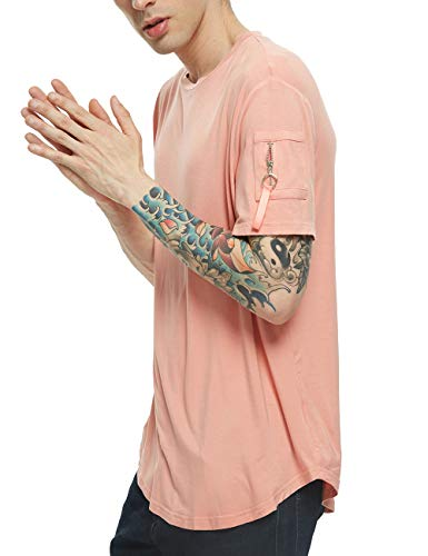 APRAW Mens Hipster Hip Hop Fashion Biker Short Sleeve T-Shirts with Zipper Pocket Red Pink ()