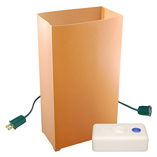 LumaBase 32310 10 Count Electric Luminaria Kit with LumaBases, Tan Luminaria Kit