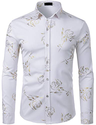 Gold Hipster - ZEROYAA Mens Hipster Gold Rose Printed Slim Fit Long Sleeve Dress Shirts/Prom Performing Shirts Z56 White XX Large