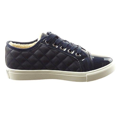 Sopily - Scarpe da Moda Sneaker alla caviglia donna trapuntata verniciato Tacco a blocco 2.5 CM - soletta sintetico - foderato di pelliccia - Blu
