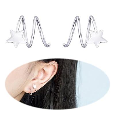 Ear Crawler Earring Star Climbers Ear Cuff Pin Vine Wrap Studs CZ Crystal Rhinestone Cute Clip On Jewelry