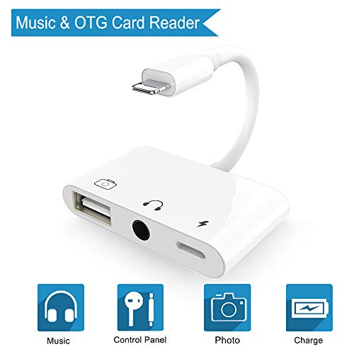 3 in 1 Adapter for 3.5mm Headphone Audio, USB 3 Camera Female OTG Adapter Cable with Fast Charging Port Adapter Compatible for iPhone X 8 8 Plus 7 7plus 6 6plus/iPad Mini Air Pro.