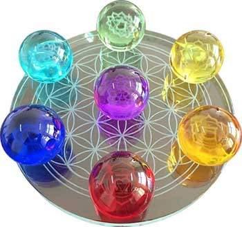 55mm 7 Chakra Flower of Life Set Crystal Balls by AzureGreen