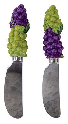The Boston Warehouse Set of 2 Wide Stainless Steel Blade Spreaders with Hand-Painted Handle, Grape Clusters