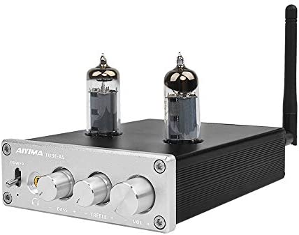 AIYIMA 6J4 Tube Amp Amplificador,Bluetooth 4.2 TPA3116D2 Power Digital Home Audio Amplifiers 50Wx2 HiFi Stereo Vacuum Tube Amplifier with Treble Bass Adjustment 6J4-Silver