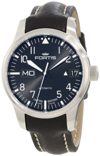 Fortis Men s 700.10.81 L.01 F-43 Flieger Black Leather Strap Automatic Watch