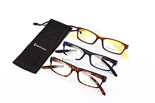 SOOLALA New Unique Hanging Neck Design Quality TR90 Full Rimmed Cool Reading Glasses, 3pack, - Designs Glasses Cool
