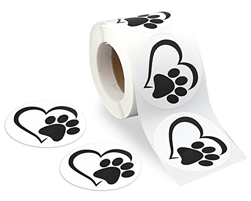 250 Paw Print in Heart Stickers (Heart Paw) (250 Stickers)