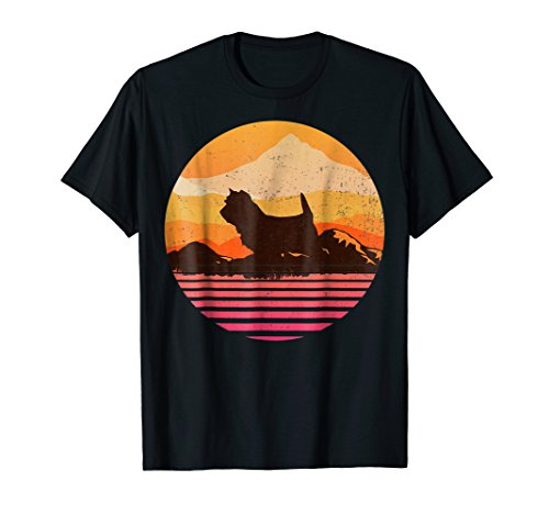 CAIRN TERRIER With Sun Mountain Vintage Retro T-Shirt