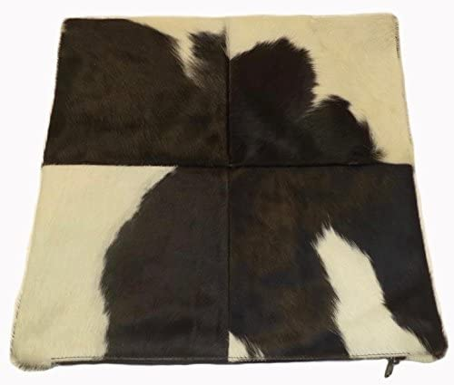 Foreign Affairs Home D cor Black White Cowhide Pillow Holstein. Double Sided Leather Pillow.