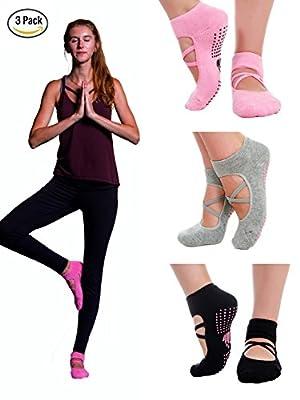 LUCKAYA 3 pairs Yoga Pilates Barre Ballet cotton non-slip grip sticky socks for women. Yoga gift box with a bonus: socks and lingerie washing bag. New design.