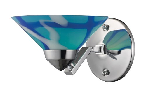 Elk 1470/1CAR 1-Light Sconce in Polished Chrome with Caribbean Glass ()