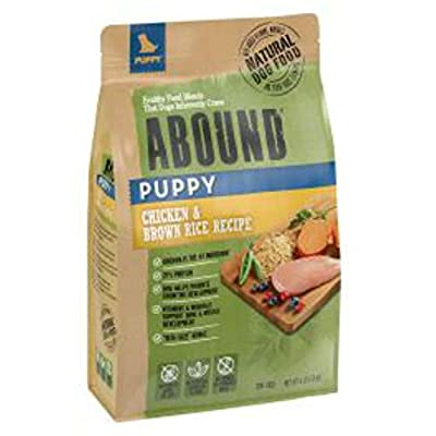 Abound Grain Free Natural Dry Puppy Dog Food, Chicken & Brown Rice Recipe, 4 lb Bag