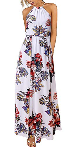 Elegant Dress for Women, Womens Casual Long Dress Floral Print Halter Wedding Party Side Split Beach Maxi Dresses White S ()