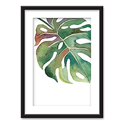 Majestic Style, Created Just For You, Framed Tropical Plant Leaf Black Picture Frames White Matting