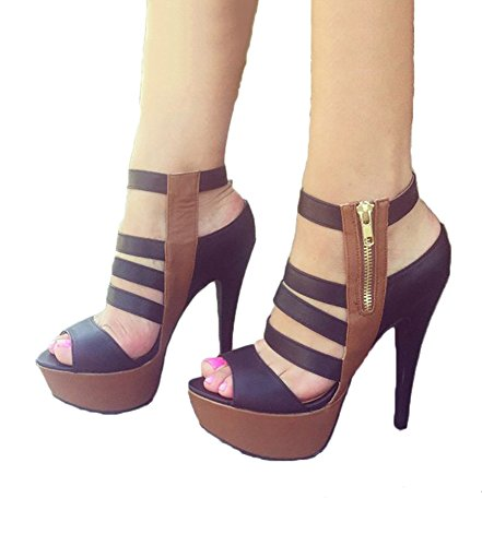 Fashare Womens High Heels Strappy Open Toe Platform Stiletto Heel Pumps Sandals Shoes