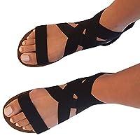 cf36817fc2c4 Feshare Women Summer Fashion Elastic Bandage Strap Sandals Open-Toe Flat Sandals  Shoes Black and Blue