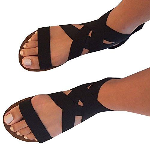 Feshare Womens Summer Flat Sandals Elastic Ankle Strap Open-Toe Gladiator Black Blue