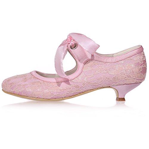 Sarahbridal 05 Party UK Prom SZXF9001 Schuhe Heels Low Für mit Spitze Runde Spitze Größe Bogen 7 5 4 Hochzeit Braut Schuh Satin UK Mädchen rxRqXUwCr