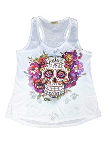 Sweet Gisele | Sugar Skull Shirts for Women | Yoga Racerback Muscle Tank Top Tee | Beautiful Print Decorated with Rhinestones White