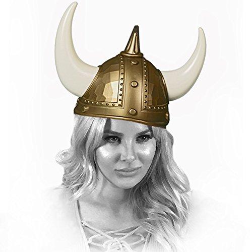 Adorox Adult Viking Warrior Horns Plastic Hat Helmet Unisex Costume Accessory (Viking Plastic)