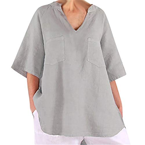 Sturrly Women's Summer Loose V-Neck Blouse Casual Half Sleeves Tops with Pocket Gray