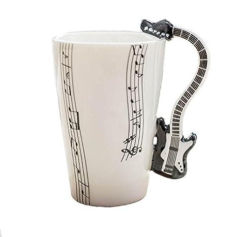 Taza de cerámica smaltata music guitarra eléctrica negra. 00003 Tazas desayuno guitarras música: Amazon.es: Instrumentos musicales