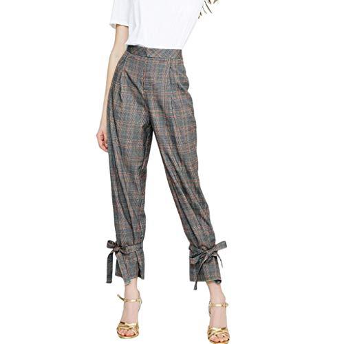 Binmer Women Casual Plaid Printing Pants Pants Trousers Ladi
