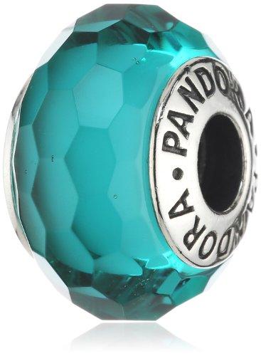 PANDORA Silver Teal Murano Glass Charm (Authentic Pandora Murano)
