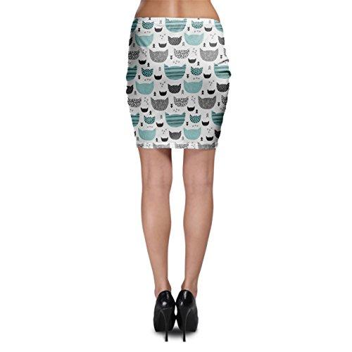 Inky Cats Aqua Bodycon Skirt Rock XS-3XL