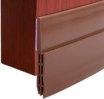 Under Door Sweep Weather Stripping Door Draft Stoppers Brown URlighting Door Seal Self Adhesive Door Bottom Seal Strip for Bugs Off Noise Insulation and Energy Saving 2 W x 39.5 L