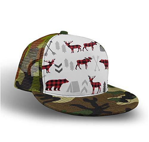 YongColer Baseball Cap, Snapback Hat, Slouch Hat, Trucker Cap for Girls and Boys - Buffalo Plaid Woodland Moose Fashion, Hip Hop Flat Cap Dad Cap Plain Cap Breathable Moisture - Buffalo Slouch Hat