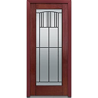 National Door Company Z001665L Fiberglass Prehung Left Hand In Swing Entry  Door, Madison Decorative