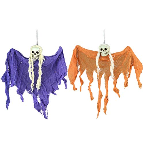 Halloween Scary Creepy Hanging Ghost Skull Skeleton for Yard Garden Bar Home Decoration Party Supplies Haunted House Props]()