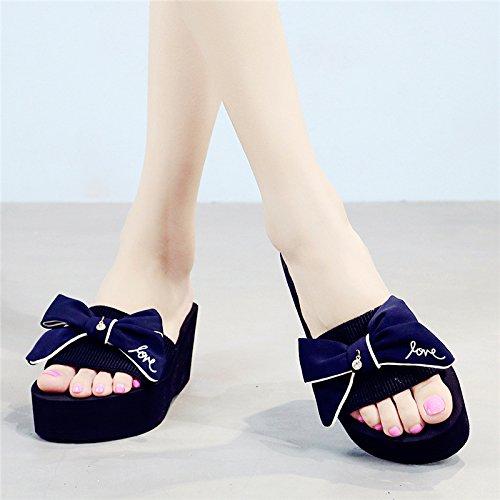Sandales Élégantes Sandales à Sandales Tongs à Pantoufles Hauts Et Talons épaisses Casual Été Blue Talon Semelles 7cm Dérapantes Anti Pantoufles Femme fSZqFF
