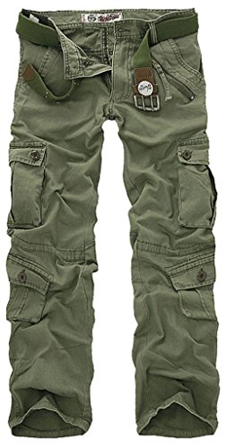 Fiream Mens Casual Cotton Loose Plus Size Camouflage Cargo Pants Trousers(Grass Green,36)