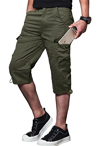 MAKEIIT Loose fit Cargo Shorts for Men 9 Cargo Shorts Men with Multi-Pocket Army Green (Lightweight Shorts Climbing)